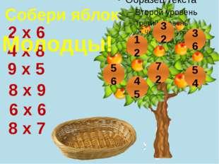 Собери яблоки 8 х 9 6 х 6 9 х 5 4 х 8 8 х 7 2 х 6 32 12 56 45 72 36 54 Молодцы!