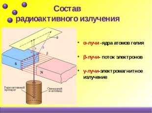 Состав радиоактивного излучения α-лучи -ядра атомов гелия β-лучи- поток элек