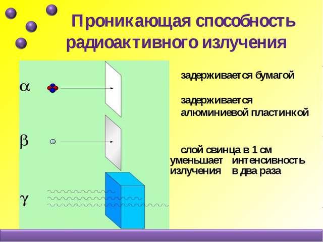 Проникающая способность радиоактивного излучения задерживается бумагой задер...