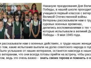 Накануне празднования Дня Великой Победы, в нашей школе проходили встречи уча