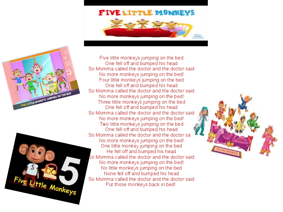 Five little monkeys jumping on the bed One fell off and bumped his head So M...