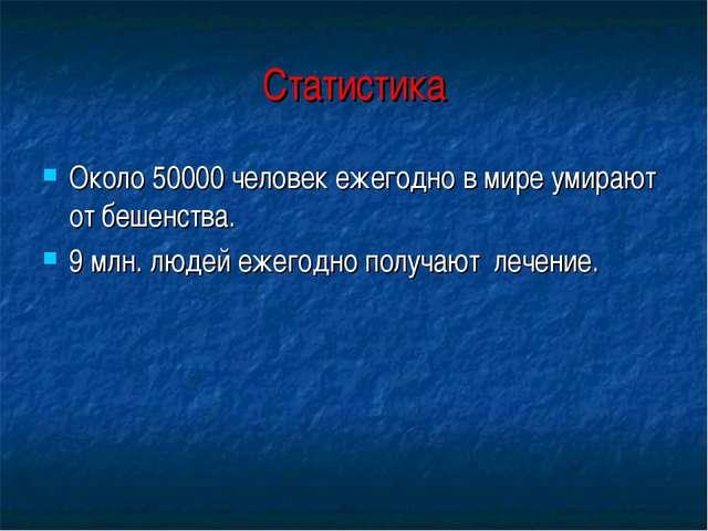 Статистика Около 50000 человек ежегодно в мире умирают от бешенства. 9 млн. л...