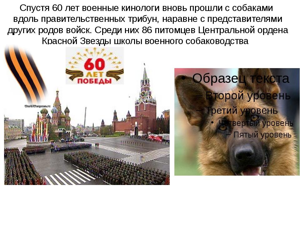 Спустя 60 лет военные кинологи вновь прошли с собаками вдоль правительственны...