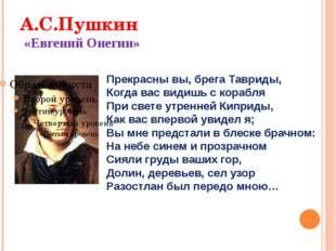 А.С.Пушкин «Евгений Онегин» Прекрасны вы, брега Тавриды, Когда вас видишь с к