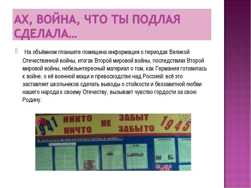На объёмном планшете помещена информация о периодах Великой Отечественной во...