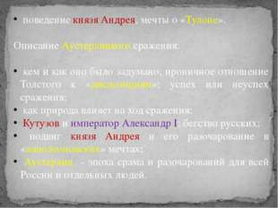 поведение князя Андрея, мечты о «Тулоне». Описание Аустерлицкого сражения: к