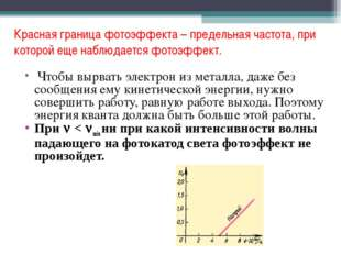 Красная граница фотоэффекта – предельная частота, при которой еще наблюдается