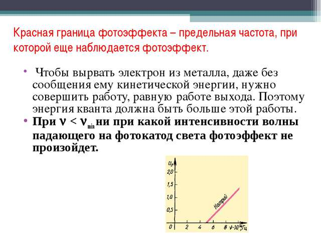 Красная граница фотоэффекта – предельная частота, при которой еще наблюдается...