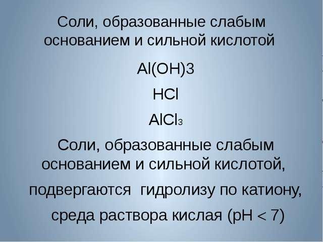 Соли, образованные слабым основанием и сильной кислотой Al(OH)3 HCl AlCl3 Сол...