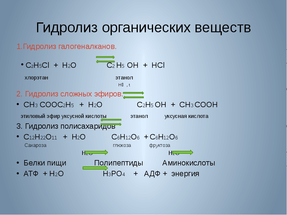 Гидролиз органических веществ 1.Гидролиз галогеналканов. C2H5Cl + H2O C2 H5 O...