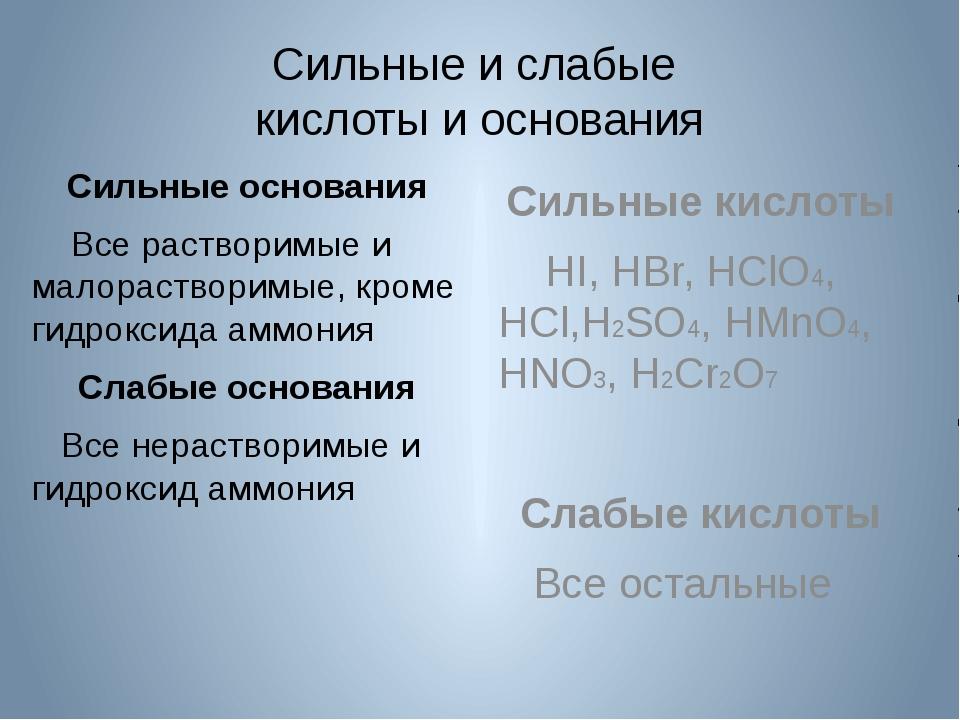 Сильные и слабые кислоты и основания Сильные основания Все растворимые и мало...