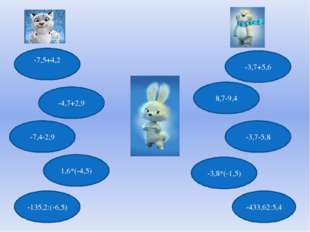 -7,5+4,2 -7,4-2,9 8,7-9,4 -4,7+2,9 -3,7+5,6 -3,7-5,8 1,6*(-4,5) -3,8*(-1,5) -