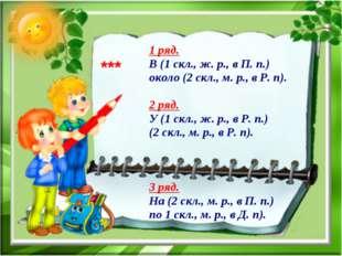 1 ряд. В (1 скл., ж. р., в П. п.) около (2 скл., м. р., в Р. п). 2 ряд. У (1