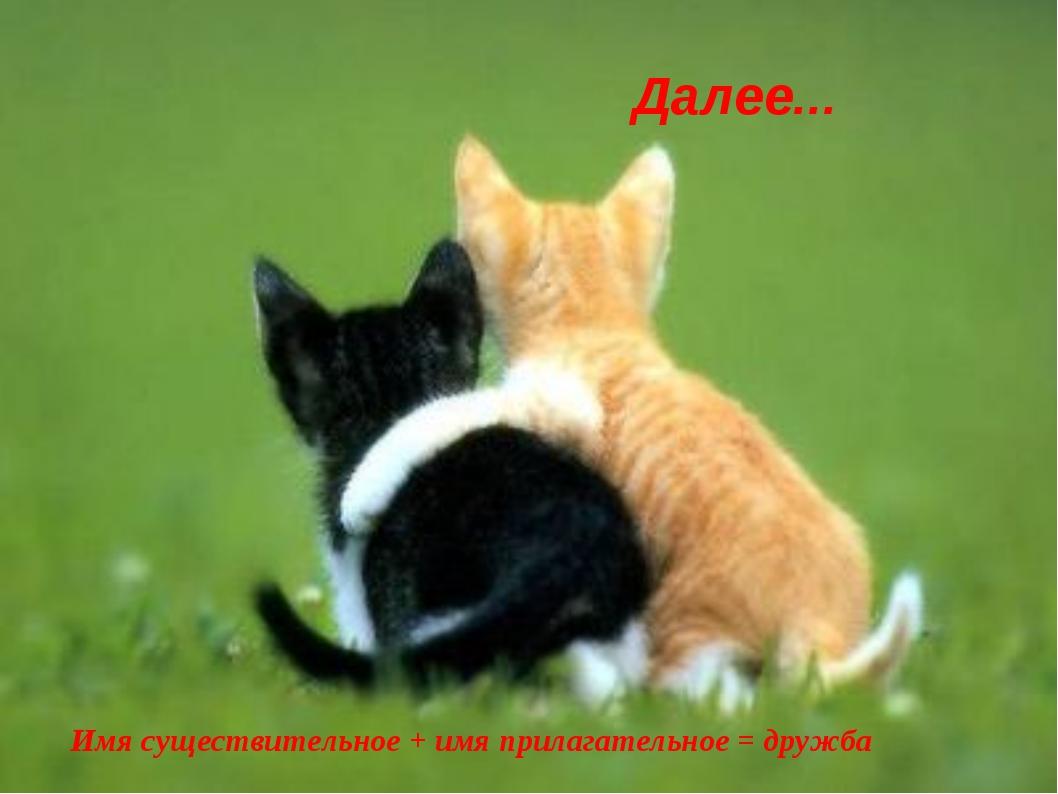 Имя существительное + имя прилагательное = дружба Далее...