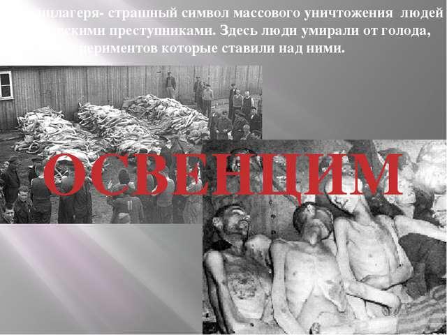 ОСВЕНЦИМ Концлагеря- страшный символ массового уничтожения людей гитлеровским...