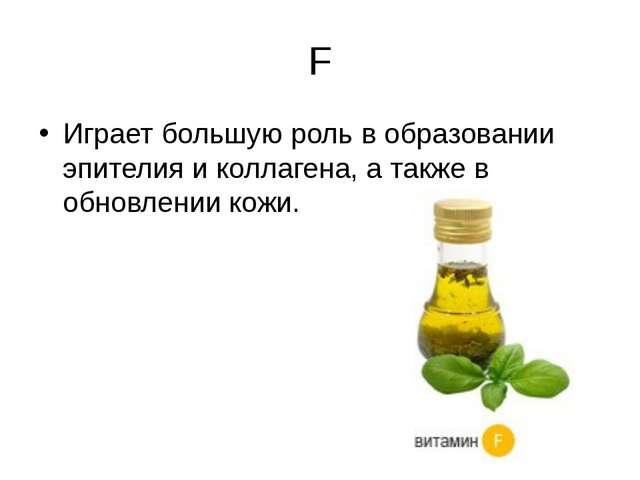 F Играет большую роль в образовании эпителия и коллагена, а также в обновлени...
