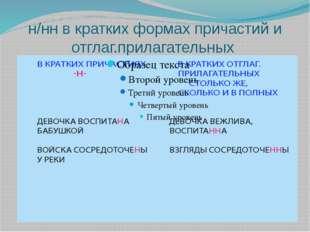 н/нн в кратких формах причастий и отглаг.прилагательных
