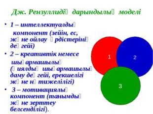Дж. Рензуллидің дарындылық моделі 1 – интеллектуалдық компонент (зейін, ес, ж