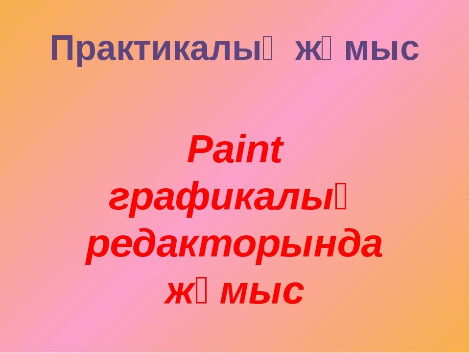 Paint графикалық редакторында жұмыс Практикалық жұмыс