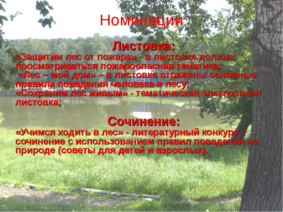 Номинации: Листовка: «Защитим лес от пожара» - в листовке должна просматрива...