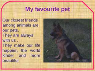 My favourite pet Our closest friends among animals are our pets. They are alw