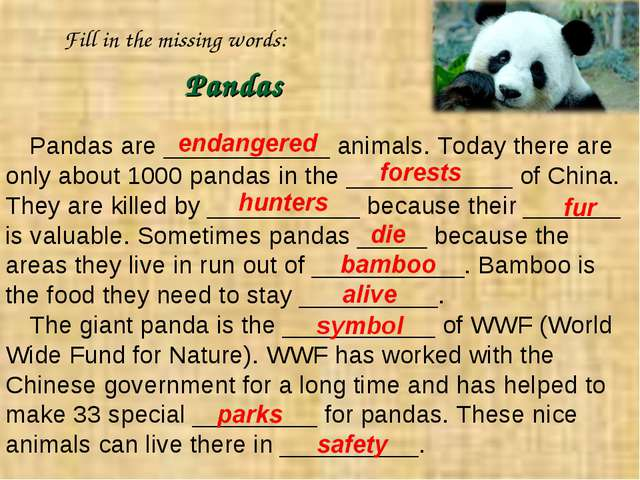 Pandas are ____________ animals. Today there are only about 1000 pandas in th...