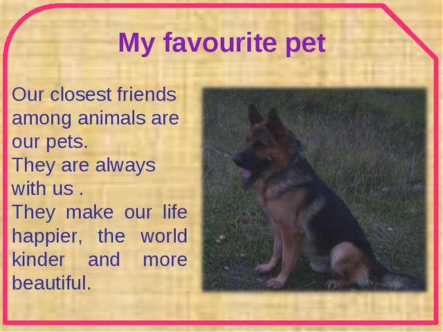 My favourite pet Our closest friends among animals are our pets. They are alw...