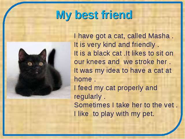 My best friend I have got a cat, called Masha . It is very kind and friendly...