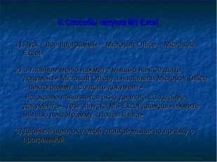 5. Способы запуска MS Excel 1) Пуск - Все программы – Microsoft Office – Mic