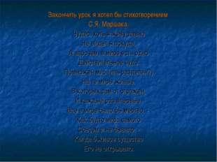 Закончить урок я хотел бы стихотворением С.Я. Маршака. Чудес, хоть я живу дав
