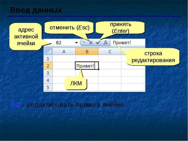 Ввод данных адрес активной ячейки отменить (Esc) принять (Enter) строка редак...
