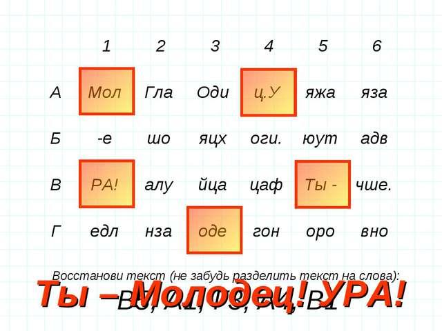 Восстанови текст (не забудь разделить текст на слова): В5, А1, Г3, А4, В1 Ты...