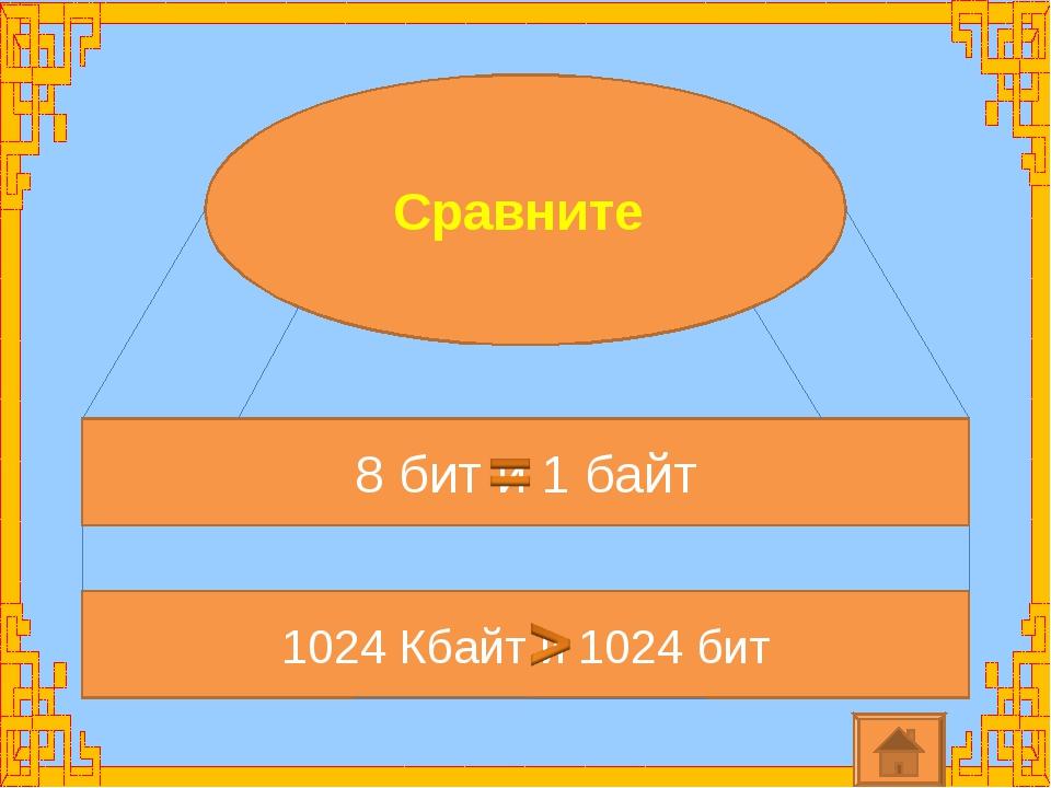 Сравните 8 бит и 1 байт 1024 Кбайт и 1024 бит