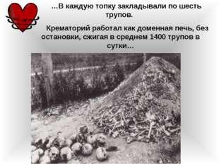 …В каждую топку закладывали по шесть трупов. Крематорий работал как доменная