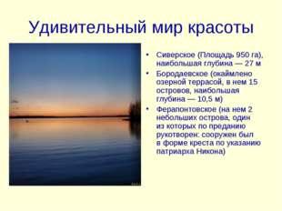 Удивительный мир красоты Сиверское (Площадь 950 га), наибольшая глубина— 27