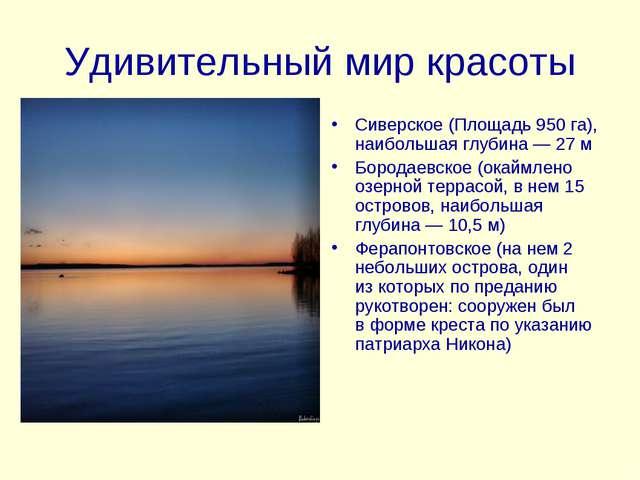Удивительный мир красоты Сиверское (Площадь 950 га), наибольшая глубина— 27...