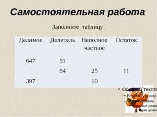Самостоятельная работа Заполните таблицу Делимое Делитель Неполное частное Ос