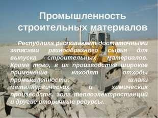 Промышленность строительных материалов Республика располагает достаточными з