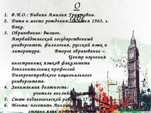 Ф.И.О.: Бабаян Амалия Грантовна. Дата и место рождения: 16 июня 1963, г. Баку