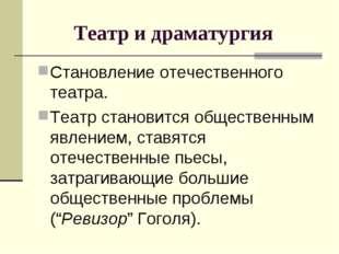 Театр и драматургия Становление отечественного театра. Театр становится обще