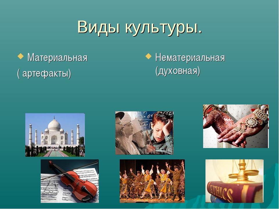 Виды культуры. Материальная ( артефакты) Нематериальная (духовная)
