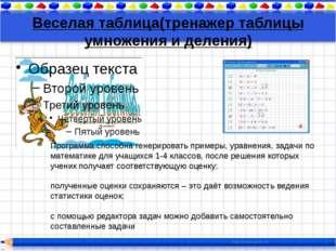 Веселая таблица(тренажер таблицы умножения и деления) Программа способна гене