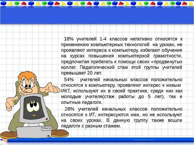 18% учителей 1-4 классов негативно относятся к применению компьютерных техно...