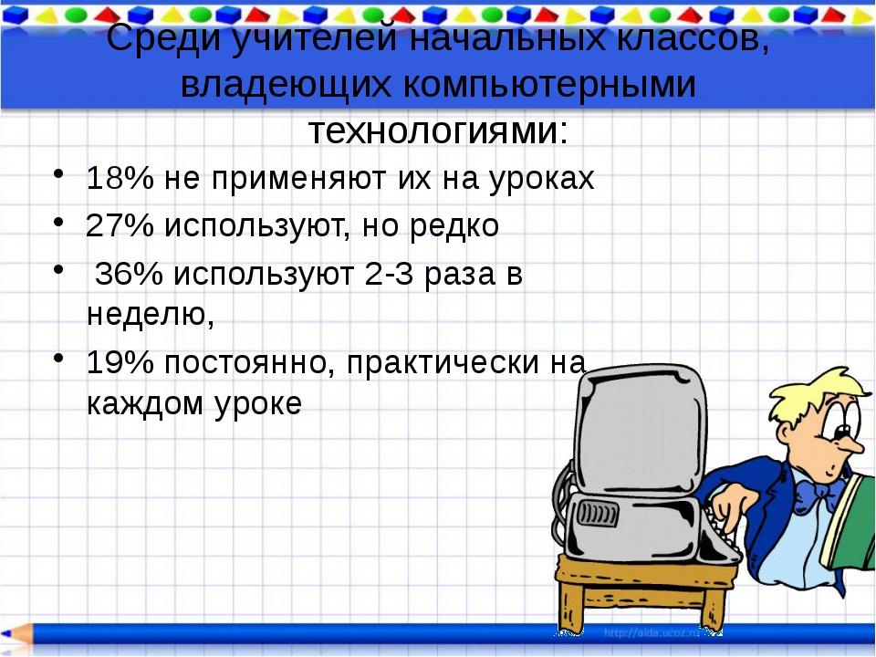 Среди учителей начальных классов, владеющих компьютерными технологиями: 18% н...