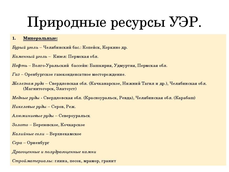 Природные ресурсы УЭР. Минеральные: Бурый уголь – Челябинский бас.: Копейск,...