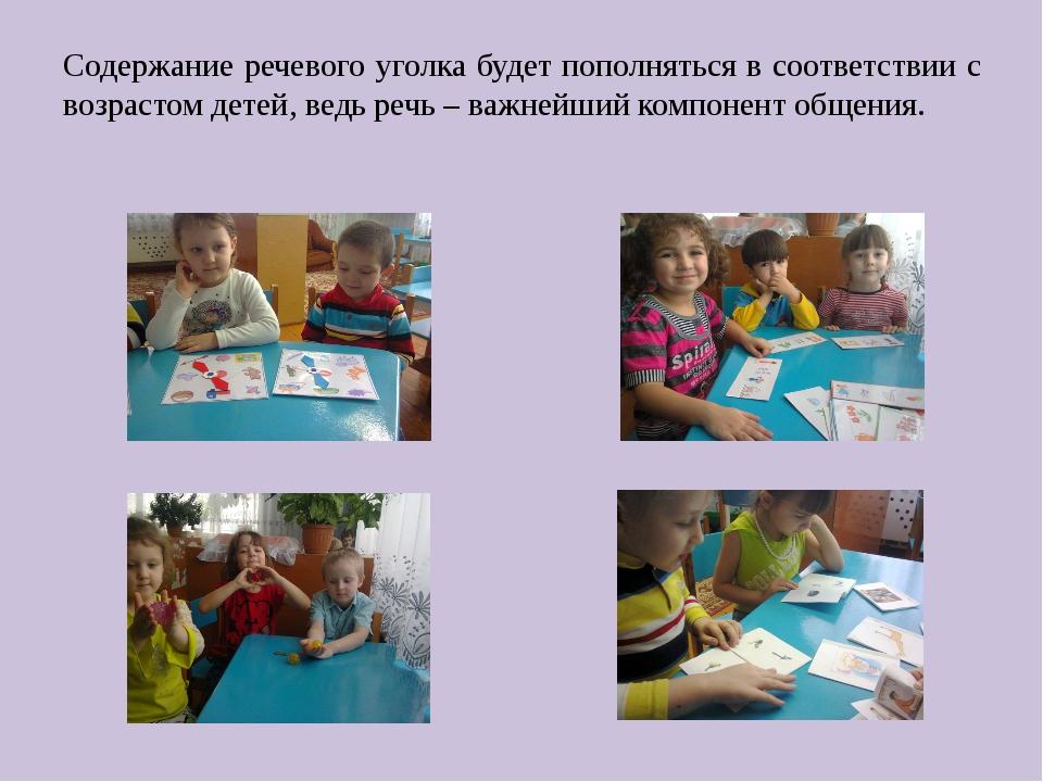 Содержание речевого уголка будет пополняться в соответствии с возрастом детей...