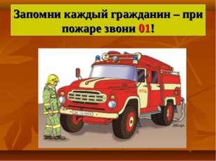 Запомни каждый гражданин – при пожаре звони 01!