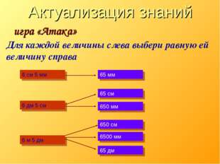 Актуализация знаний игра «Атака» Для каждой величины слева выбери равную ей в