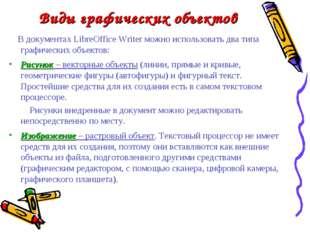Виды графических объектов В документах LibreOffice Writer можно использовать