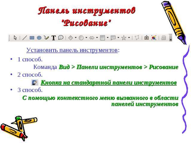 """Панель инструментов """"Рисование"""" Установить панель инструментов: 1 способ. Ком..."""